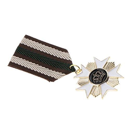 Hellery Krone Medaillen Brosche Pin Abzeichen für Faschingskostüm, Soldat Kostüm