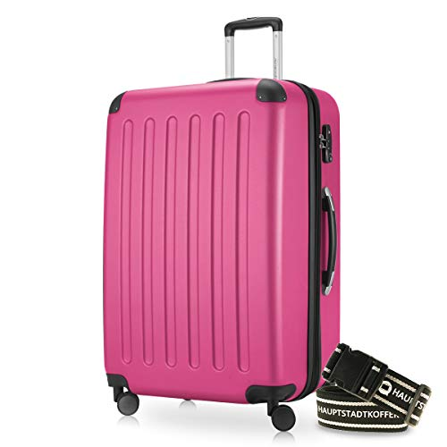 Hauptstadtkoffer - Spree Hartschalen-Koffer-XL Koffer Trolley Rollkoffer Reisekoffer Erweiterbar, 4 Rollen, TSA, 75 cm, 119 Liter, Pink inkl. Gepäckgurt