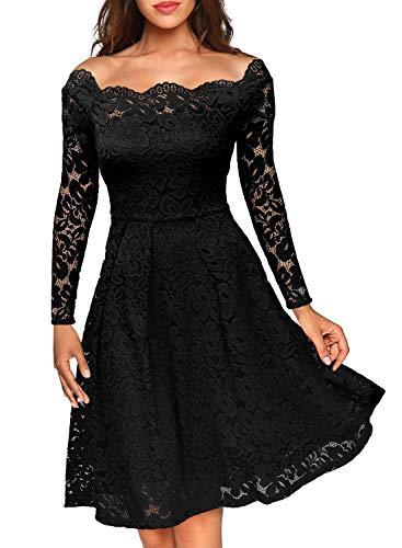 MIUSOL Damen Vintage 1950er Off Schulter Cocktailkleid Retro Spitzen Schwingen Pinup Rockabilly Kleid Schwarz M