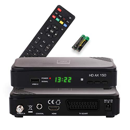 RED OPTICUM AX 150 Sat Receiver I Digitaler Satelliten-Receiver HD-TV mit HDMI - SCART - USB 2.0 - S/PDIF Coaxial Anschluss I 12V Netzteil ideal für Camping I Receiver für Satellitenschüssel