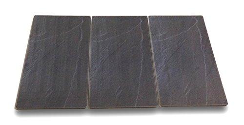 3 x Glas Herdabdeckplatte Herdabdeckung Schneidebrett Abdeckplatte für Ceranfeld Design Schiefer extra für große 80 cm Kochfelder Herdblende