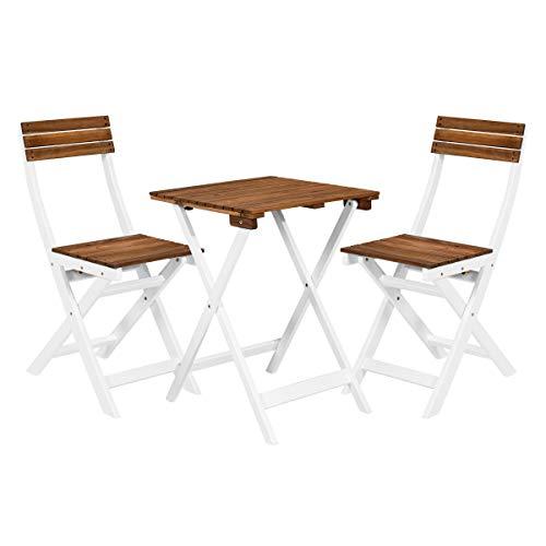 Butlers Morning Star Balkonset 3-teilig in Weiß-Braun - Holztisch und 2 Balkonstühle klappbar - Gartenmöbel-Set aus FSC-Holz