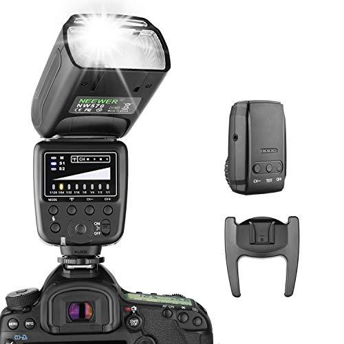 Neewer Blitz Speedlite mit 2,4G Drahtlos System und 15 Kanal Sender für Canon Nikon Sony Panasonic Olymp Fujifilm Pentax und andere DSLR-Kameras mit Standard Blitzschuh (NW570)