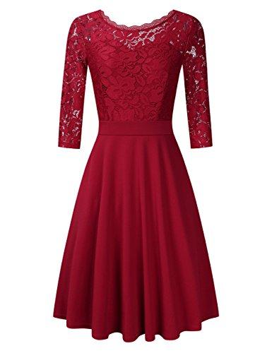 Clearlove Damen Kleider Elegant Spitzenkleid 3/4 Ärmel Cocktailkleid Rundhals Knielang Rockabilly Kleid(Verpackung MEHRWEG), Weinrot, M