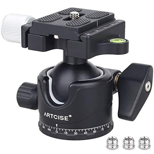 Stabilität des Kugelkopfs mit niedrigem Profil Panorama-Stativkopf 360 Rotierender professioneller Stativkopf mit Arca Swiss-Schnellwechselplatten Max. Belastung 15 kg für DSLR-Kamerateleskope