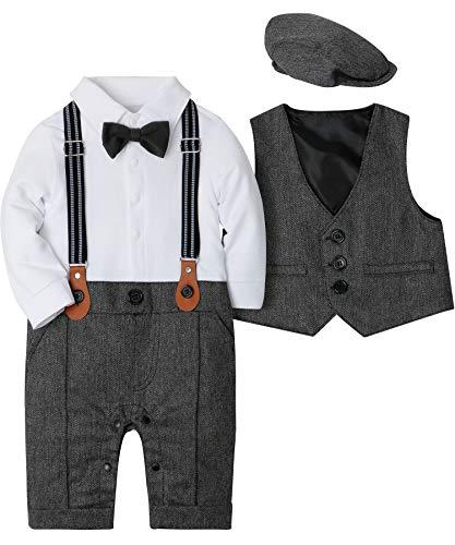 SANMIO Baby Jungen Bekleidung Set, Taufe Junge 3tlg with Fliege + Weste + Hut Gentleman Langarm Anzug Outfit für Festlich Geburtstag Hochzeit,10-13 Monate(Körpergröße 80),Grau