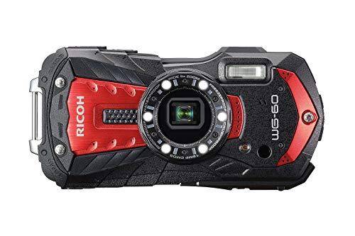 Pentax RICOH WG-60 Schwarz + Schwimmgurt + 32 GB SD Karte, wasserdichte Kamera Hochauflösende Bilder mit 16 MP Wasserdicht bis 14 m Unterwassermodus Ring mit 6-LEDs für Makroaufnahmen, Rouge