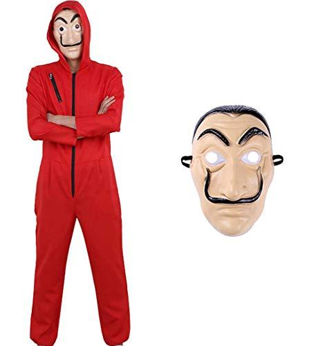 Tomlyws Unisex Maske Cosplay Bekleidung Pullover Kostüme Body Suit Rot Anzug Fasching Karneval Halloween Overall Jumpsuit M
