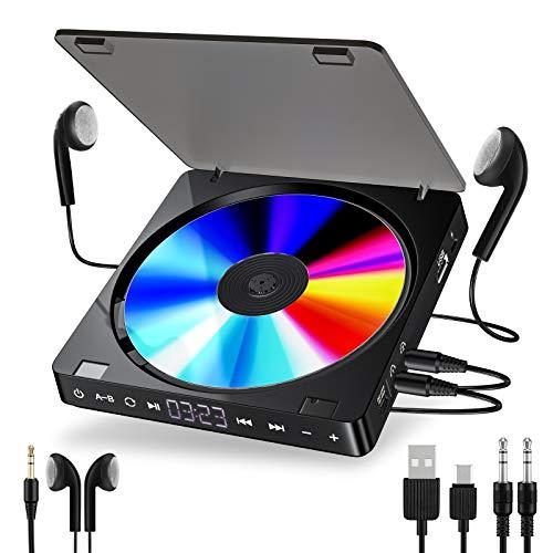 Gueray Tragbarer CD Player 1200 mAh Persönlicher Wiederaufladbar MP3 CD Player mit Doppelte 3.5mm Kopfhörern Buchse Disc Walkman