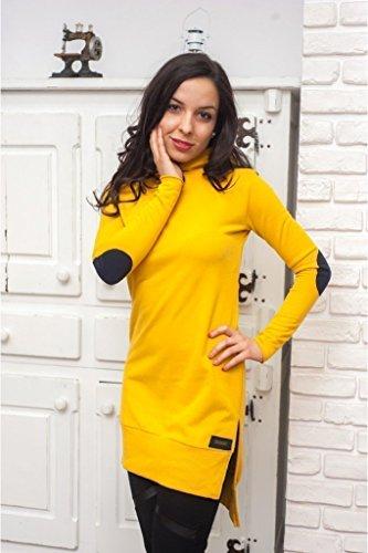 Gelbes Tunika Kleid mit Kapuze, 100% Baumwolle. Qualität Damen Tunika in S/M/L/XL Größen