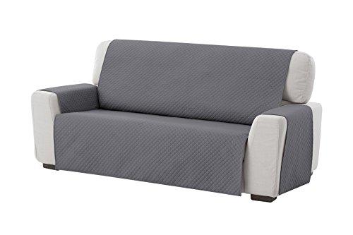 Textil-home Sesselschoner Sofaüberwurf Adele, 3 Sitzer - Reversibel gepolsterter Sofaschutz. Farbe Grau