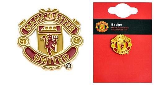 Manchester United Offizielle Fußballfan-Produkte im Set, einschl. Sticker, Flagge, Schreibwaren, - Crest Pin Badge