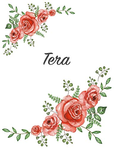 Tera: Personalized Composition Notebook – Vintage Floral Pattern (Red Rose Blooms). College Ruled (Lined) Journal for School Notes, Diary, Journaling. Flowers Watercolor Art with Your Name
