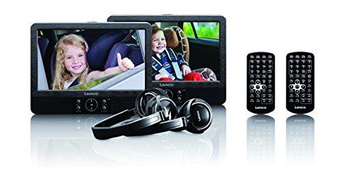 Lenco DVP-939 9-Zoll Tragbares DVD-Player Set unabhängig ansteuerbar USB und SD/MMC Anschluss integrierter Akku Schwarz