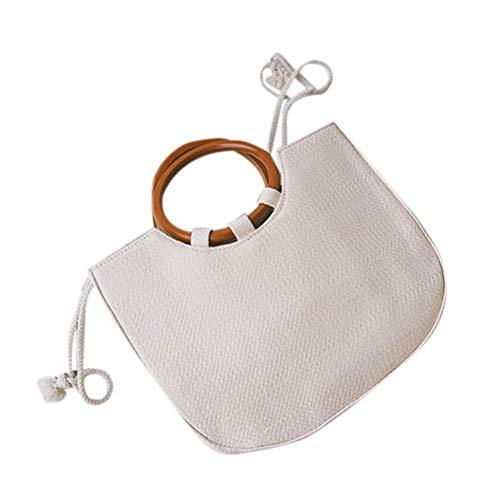 Fenical Strohhandtasche Mode Runden Henkeltasche Sommer Strandreisetasche (Weiß)