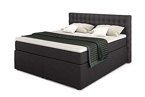 Betten Jumbo King Boxspringbett 140x200 cm 7-Zonen TFK Härtegrad H3 und Visco-Topper | Farbe Anthrazit | div. Größen verfügbar