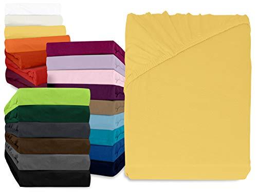 npluseins klassisches Jersey Spannbetttuch - erhältlich in 34 modernen Farben und 6 verschiedenen Größen - 100% Baumwolle, 120 x 200 cm, gelb