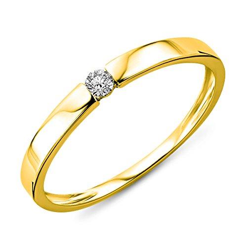 Miore Damen Gelbgold Diamant Solitär Verlobungsring 14KT (585) mit Brillant 0.05 ct (48 (15.3))