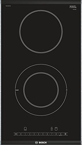 Bosch PKF375FP1E Serie 6 Domino-Elektrokochfeld / 30 cm / Schwarz / ComfortProfil / DirectSelect / 17 Leistungsstufen / PowerBoost / 2 HighSpeed-Kochzonen / ReStart / TopControl-Digitalanzeige