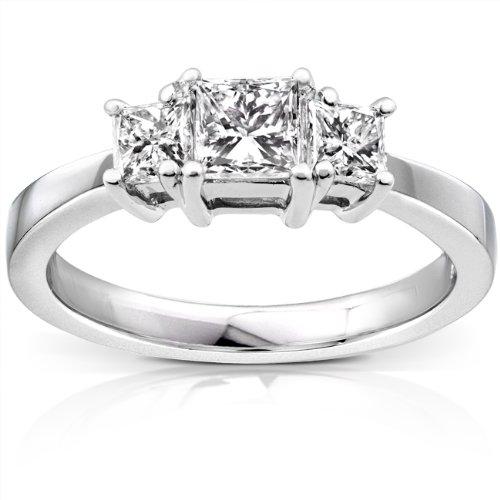 Diamant three-stone Engagement Ring 1Karat (ctw) in 14K Weiß Gold _ 11,0