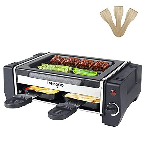 Raclette 2 Personen Mini Raclette Grill Raquelette für Zwei Personen mit 2 Pfännchen und 3 Holzspatel, Leichte Reinigung Antihaftbeschichtung - Regelbarer Thermostat - 500W
