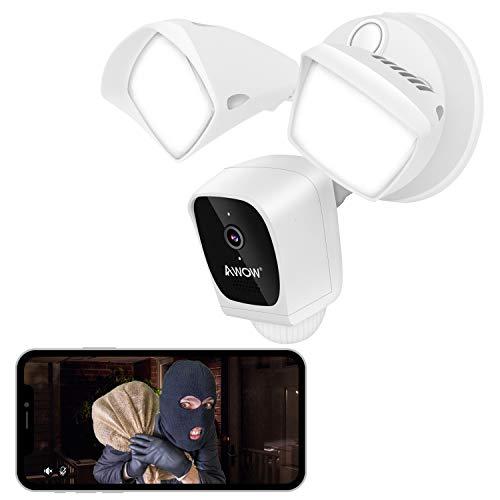 AWOW 1080P HD Aussen IP Sicherheitskamera mit Integrierte Beleuchtung& Sirene/WLAN Smarte Überwachungskamera/Gegensprechfunktion / IP65 Wasserdicht/PIR Bewegungserkennung/App Push/Nachtsicht