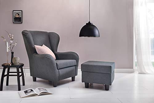 Furniture for Friends Möbelfreude Ohrensessel Hellgrau Wohnzimmersessel mit Hocker