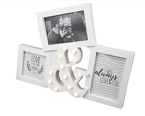 CREOFANT Bilderrahmen für 3 Bilder · Bilderrahmen mit 12er LED Beleuchtung · Fotorahmen für die Familie 3er Bilderrahmen aus Holz · Bilderrahmen Shabby Chic (Weiß)