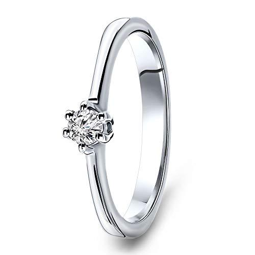 Miore Ring Damen Solitär Diamant Verlobungsring Weißgold 14 Karat / 585 Gold Diamant Brillant 0.12 Ct, Schmuck