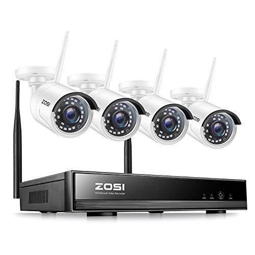 ZOSI 8CH H.265+ 1080P NVR Funk Überwachungsset mit 4 Drahtlos 2.0Megapixel Außen Tag Nacht IP Überwachungskamera Set Wireless CCTV System, 20M IR Nachtsicht, ohne Festplatte