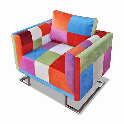 vidaXL Würfel Sessel Patchwork-Design Stoff TV Relaxsessel Clubsessel Sofa