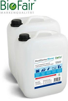 Demineralisiertes Wasser BioFair (20l) nach VDE 0510-2 x 10 Liter (destilliertes Wasser) - VERSANDKOSTENFREI