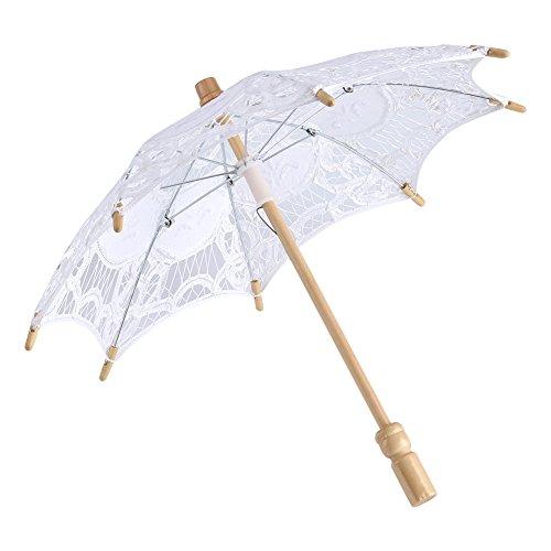 Yosoo Spitze Regenschirm Vintage Hochzeit Spitze Stickerei Reine Baumwolle Dame Braut Hochzeit Sonnenschirm Dekoration Foto Requisiten(Small-weiß)