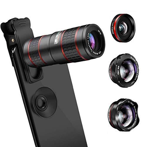 AFAITH HD Handy Kamera Lens Kit, 5 in 1 Telefon Kamera objektiv Kit - 12xTelephotoobjektiv + 180° Fischaugenobjektiv + 0.36X Weitwinkel + 15X Makroobjektiv Kompatibles iPhone X/XS/8 Samsung und mehr