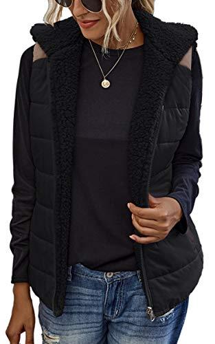 Spec4Y Weste Damen Stehkragen Ärmellos Reißverschluss Jacke Warm Sherpa Fleece Leichte Mantel mit Taschen 2082 Schwarz Small