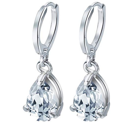 Dorical 1 Paar Ohrringe für Damen Frauen Mädchen Hängend Transparent Kristall Ohrring Anhänger,Wassertropfen Ohrhänger Tropfen Ohrringe, Handgemachte Einzigartige Schmuck,Reduziert(Weiß,One sie)