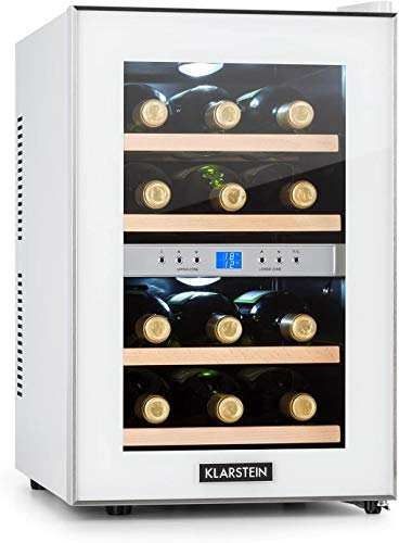 Klarstein Reserva - Weinkühlschrank, Getränkekühlschrank, Kühlschrank, 34 Liter, 2 programmierbare Kühlzonen, 12 Weinflaschen, 7-18 °C, Innentemperaturanzeige, weiß [Energieklasse B]