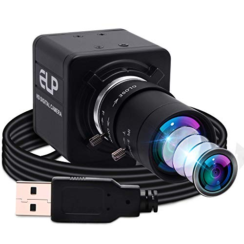 ELP Webcam 2 Megapixel 5-50mm Manuell Variable Zoom Objektiv HD Kamera USB kompatibel mit Mac/Windows/Linux/Android UVC Einstellbarer Fokus Web Kamera (1080P OV4689 Sensor)