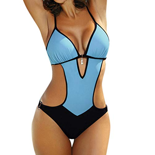 BBring Damen Sexy Einteiliger Badeanzug Einfarbig Träger Niedrige V-Ausschnitt Bikini Hohl Monokini Badebekleidung (S, Blau)