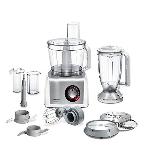Bosch Kompakt-Küchenmaschine MultiTalent 8 MC812S814, 45 Funktionen, XXL-Rührschüssel 3,9 L, Mixer 1,5 L, Universalmesser, Rührbesen, schneiden und raspeln (fein,grob), 1250 W, weiß/edelstahl
