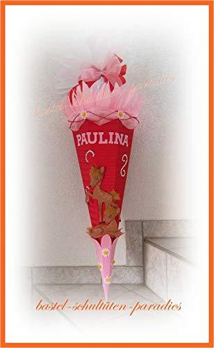 Schultüten Bastelset Reh Bambi mit Organza+ Marg. rot-rosa