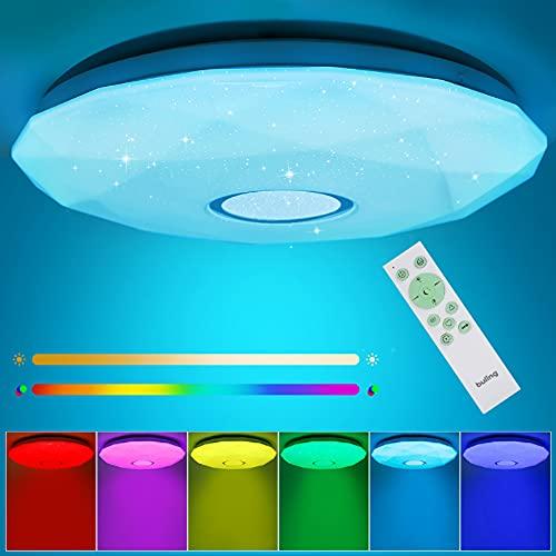 LED Deckenlampe Dimmbar Sternenhimmel, 24W Ø32cm LED Deckenleuchte Farbwechsel Lampe mit Fernbedienung für Küche Wohnzimmer Schlafzimmer, RGB Warmweiß Neutralweiß Kaltweiß