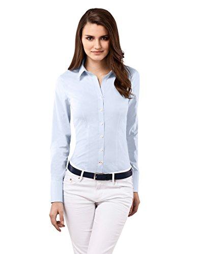 Vincenzo Boretti Damen Bluse besonders tailliert mit Stretch Langarm Hemdbluse elegant festlich Kent-Kragen auch für Business und unter Pullover eisblau 42