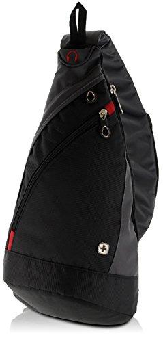 WENGER Premium Slingbag für Damen und Herren, 10 L, Rucksack Schultertasche in Schwarz/Grau mit grauem Innenfutter