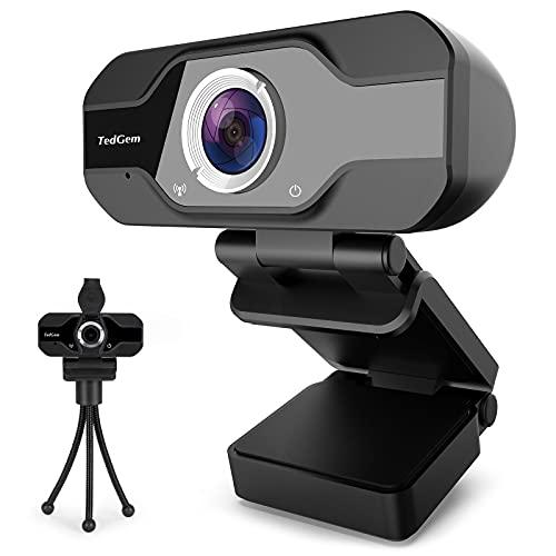 Webcam mit Mikrofon, TedGem 1080P HD USB Webcam, Kamera für PC mit Mikrofon und Stativ, Autofokus, für Skype, FaceTime, Hangouts, etc, Video Chat, Aufnahme, Windows/Mac/Android, Schwarz