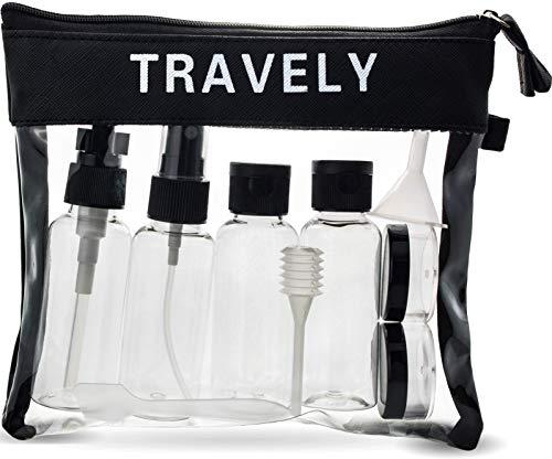TRAVELY Kulturbeutel transparent 1 Liter - mit Reiseflaschen zum Befüllen - ideal für Handgepäck Flüssigkeiten im Flugzeug, Reiseset Kosmetik, Liquid Bag