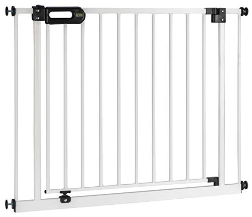 BOMI Treppenschutzgitter 83-243 | Zum Klemmen | 90° Stop | Schließt automatisch | zum Klemmen | Einfache Babygitter Montage weiß | Tür-Gitter | Treppen-Gitter Baby Kleinkind Hunde