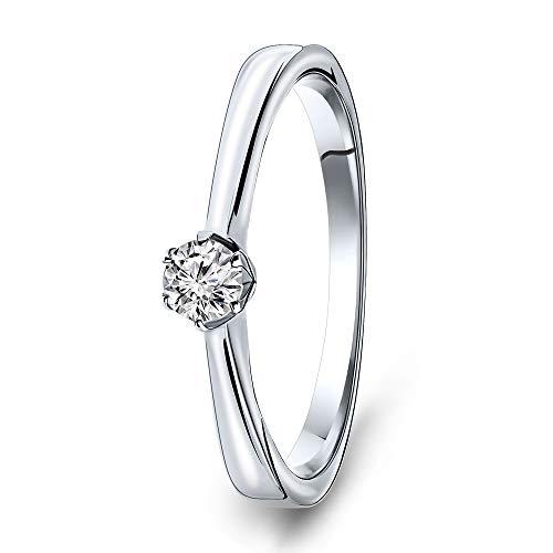 Miore Ring Damen Solitär Diamant Verlobungsring Weißgold 14 Karat / 585 Gold Diamant Brillant 0.14 Ct, Schmuck