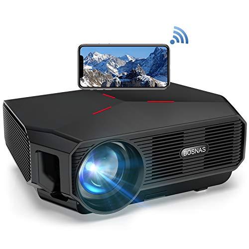 Mini WiFi Beamer, BOSNAS Wireless Beamer Native 720p Unterstützt Full HD 1080P,LED Heimkino Beamer Kompatibel mit TV Stick HDMI PS4 Laptop Smartphone Projektor