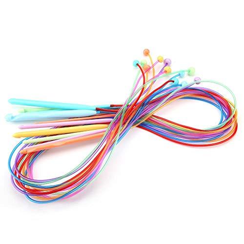 Akozon Häkelnadeln ABS Kunststoff Afghan Tunesischen Häkelnadeln mit Kabel Teppich Teppich Weben Stricknadeln 12 Stücke